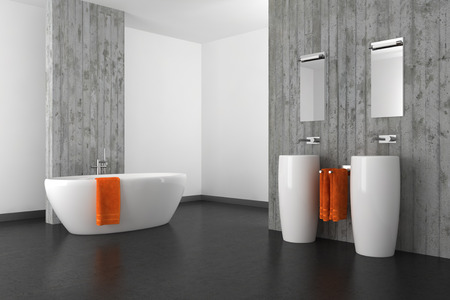 moderne badkamer met dubbele wastafel betonnen muur en donkere vloer Stockfoto