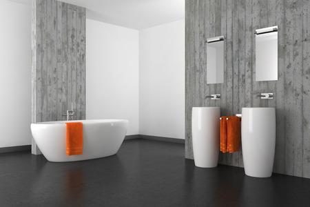modernes Badezimmer mit Doppelwaschbecken Betonwand und dunklen Boden Standard-Bild