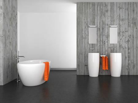 modern bathroom with double basin concrete wall and dark floor Stockfoto