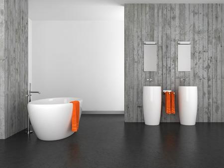 modern bathroom with double basin concrete wall and dark floor Archivio Fotografico