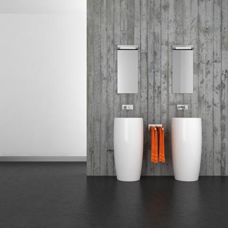 Moderno bagno con doppio lavabo a muro di cemento e pavimento scuro Archivio Fotografico - 37108997