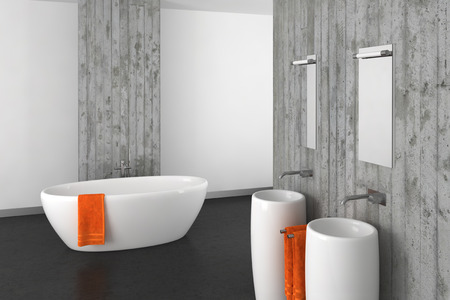 modern bathroom with double basin concrete wall and dark floor photo