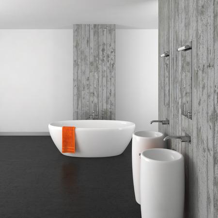 Moderno bagno con doppio lavabo a muro di cemento e pavimento scuro Archivio Fotografico - 37108999