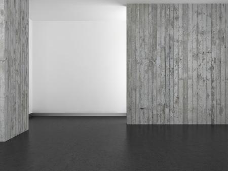 empty modern bathroom with concrete wall and dark floor photo