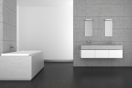 double sink: modern bathroom with double basin concrete wall and dark floor Stock Photo