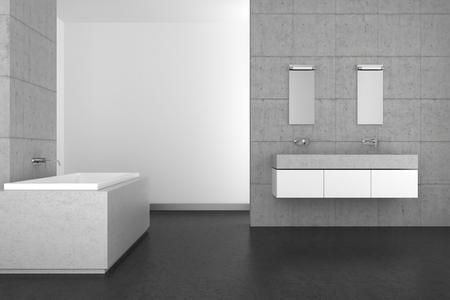 resin: modern bathroom with double basin concrete wall and dark floor Stock Photo