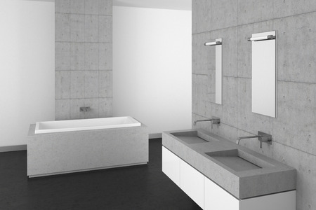 modern bathroom with double basin concrete wall and dark floor photo