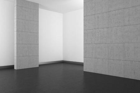 empty modern bathroom with concrete wall and dark floor