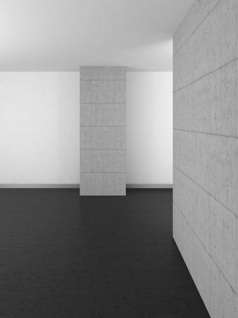 luxury hotel room: empty modern bathroom with concrete wall and dark floor