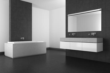 modern bathroom with double basin, gray tiles and dark floor; 3d rendering photo