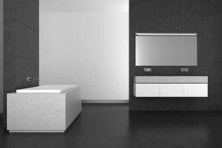 double sink: modern bathroom with double basin, gray tiles and dark floor; 3d rendering Stock Photo