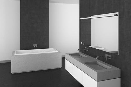 bathroom tiles: modern bathroom with double basin, gray tiles and dark floor; 3d rendering Stock Photo