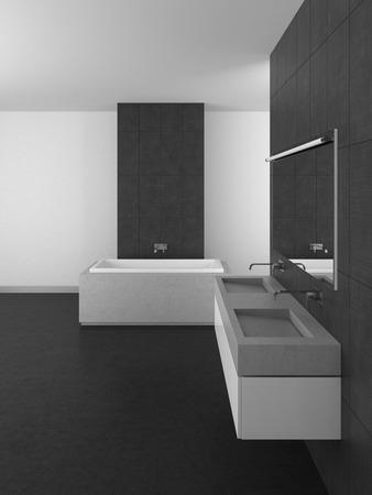resin: modern bathroom with double basin, gray tiles and dark floor; 3d rendering Stock Photo