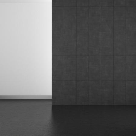 Leere Modernes Bad Mit Grauen Fliesen Und Dunklen Boden; 3D Rendering