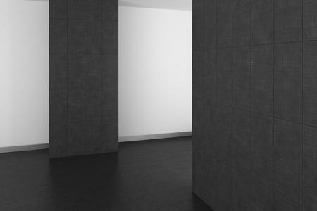 resin: empty modern bathroom with gray tiles and dark floor; 3d rendering