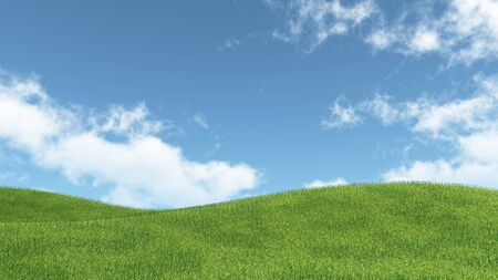 white clouds: landscape with green meadow and blue sky with white clouds