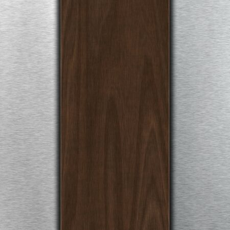 aluminum: Background with dark wood over brushed metal with copy space Stock Photo