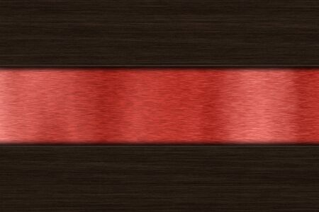 aluminium texture: Background with dark wood over red brushed metal with copy space