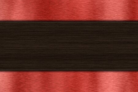 wenge: Background with dark wood over red brushed metal with copy space