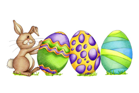 brown egg: Easter bunny with colorful eggs isolated on white background