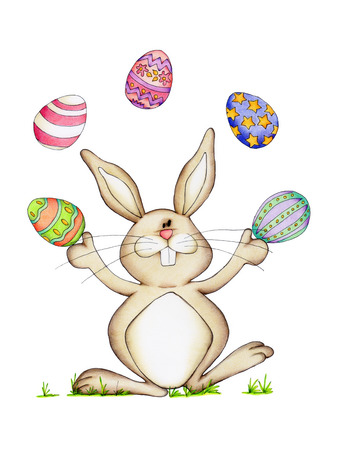 easter bunny: Easter bunny with colorful eggs isolated on white background