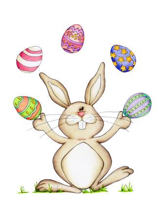 osterhase: Osterhase mit bunten Eiern isoliert auf wei�em Hintergrund Lizenzfreie Bilder