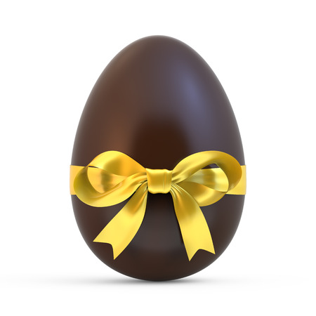 chocolate eggs: chocolate easter egg with yellow ribbon isolated on white background Stock Photo