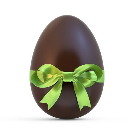 chocolate egg: chocolate easter egg with green ribbon isolated on white background