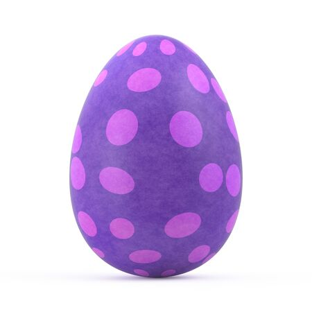 easter background: violet easter egg isolated on white background Stock Photo