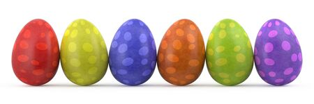 red banner: colorful easter eggs isolated on white background Stock Photo