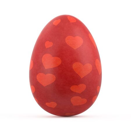isolated on red: red easter egg isolated on white background