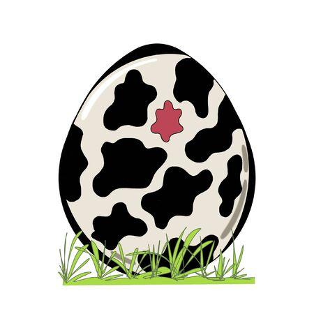 bonito: huevo de Pascua adornado con la hierba aislada en el fondo blanco