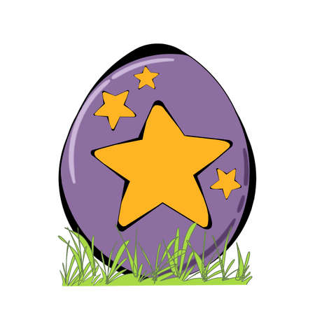 grass close up: Decorated Easter egg with grass isolated on white background