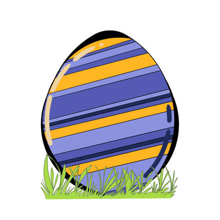 strip design: Decorated Easter egg with grass isolated on white background