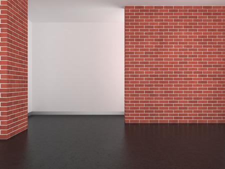 Lege moderne kamer met betonnen muur en donkere vloer