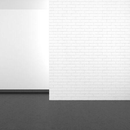 Lege moderne kamer met witte bakstenen muur en donkere vloer in hars