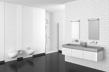 Moderne badkamer met witte bakstenen muur en donkere vloer in hars