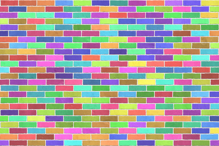 Background texture of colorful brick wall, stretcher bond