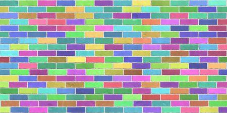 Struttura di sfondo di muro di mattoni colorati, legame di barella Archivio Fotografico - 88245114