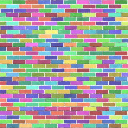Achtergrondtextuur van kleurrijke bakstenen muur, brancardverbinding Stockfoto