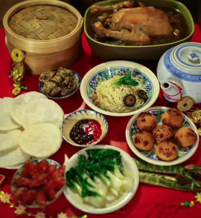 Chinese or Lunar New Year food are served with different kinds photo