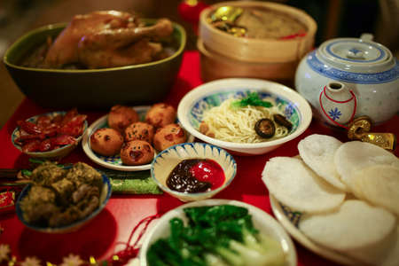 chinese new year food: Chinese or Lunar New Year food are served with different kinds Stock Photo