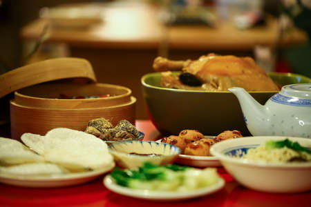 chinese noodle: Chinese or Lunar New Year food are served with different kinds Stock Photo