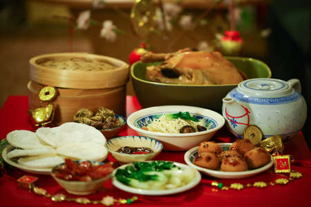 Chinese or Lunar New Year food are served with different kinds Stock Photo