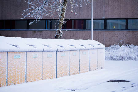 recycle area: Recycle area is covered by snow in a winter day