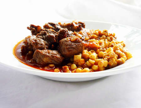 beef stew: Beef stew with egg barley Stock Photo