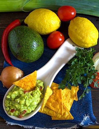 guacamole: Guacamole directly above Stock Photo