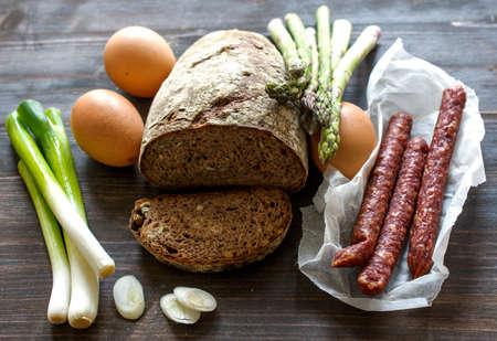 campesino: Ingredientes para el desayuno Campesinas Foto de archivo