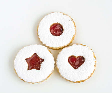 Linzer cookies on white background
