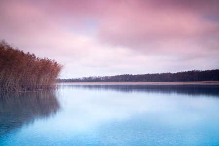 masuria: pastel Masuria lake landscape Stock Photo